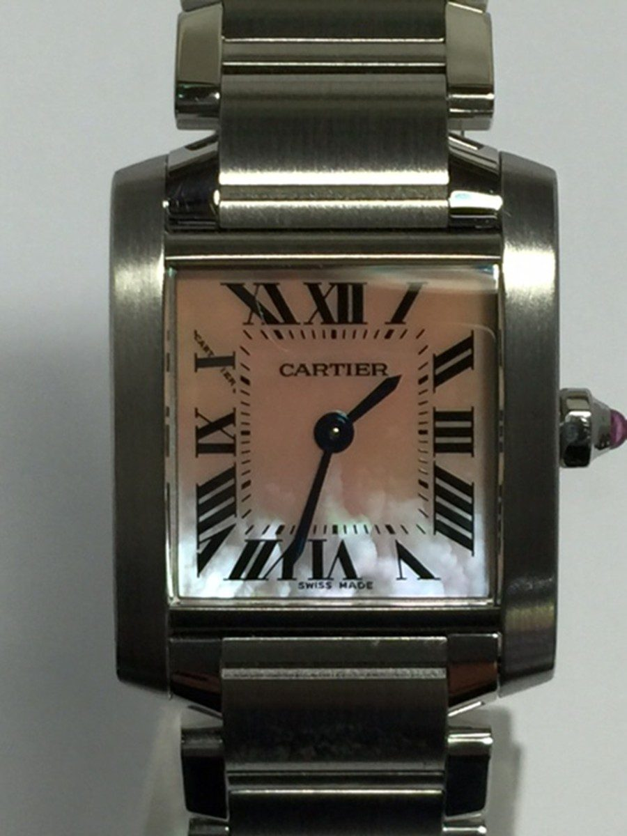 Cartier Tank Francais with Rose Mother-of-Pearl dial Model No: W51028Q3